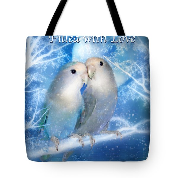 Love At Christmas Card Tote Bag by Carol Cavalaris
