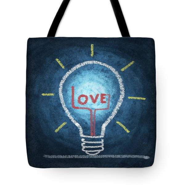 love word in light bulb Tote Bag by Setsiri Silapasuwanchai
