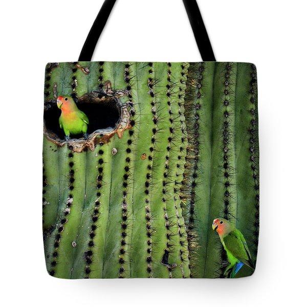 Lovebirds And The Saguaro  Tote Bag by Saija  Lehtonen