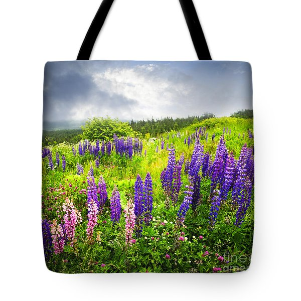 Lupin Flowers In Newfoundland Tote Bag by Elena Elisseeva