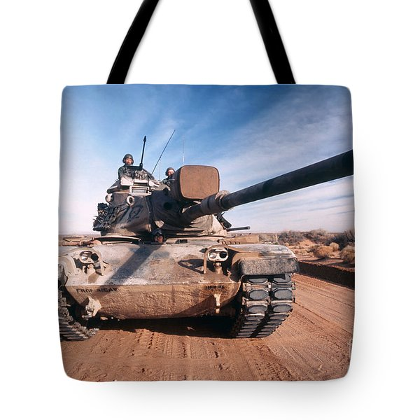 M-60 Battle Tank In Motion Tote Bag by Stocktrek Images