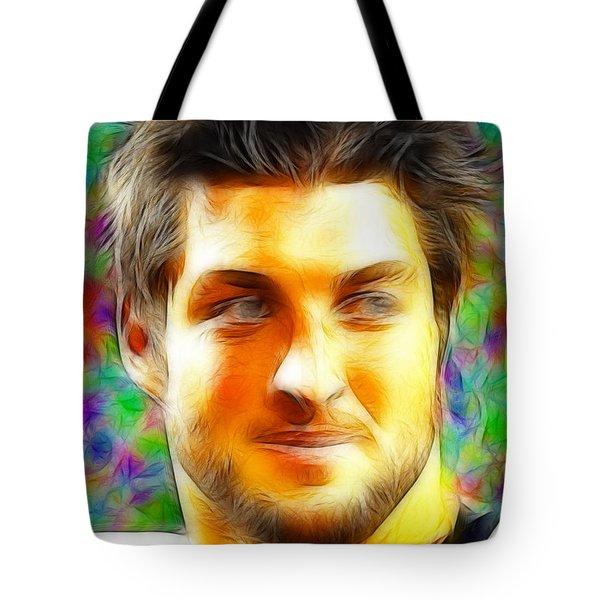 Magical Tim Tebow Face Tote Bag by Paul Van Scott