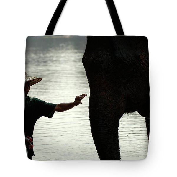 Mahut With Elephant Tote Bag by Bob Christopher