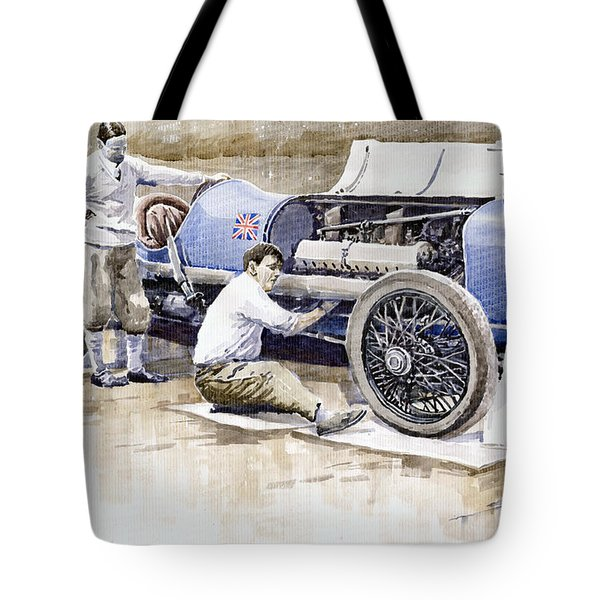 Malcolm Campbell Sunbeam Bluebird 1924 Tote Bag by Yuriy  Shevchuk