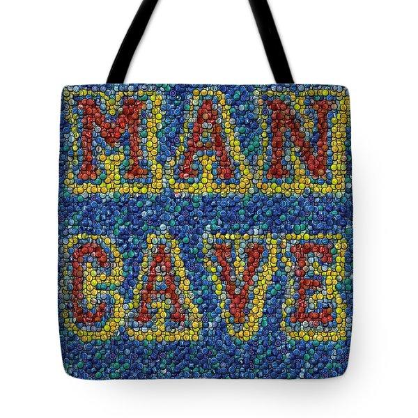 Man Cave Bottle Cap Mosaic Tote Bag by Paul Van Scott