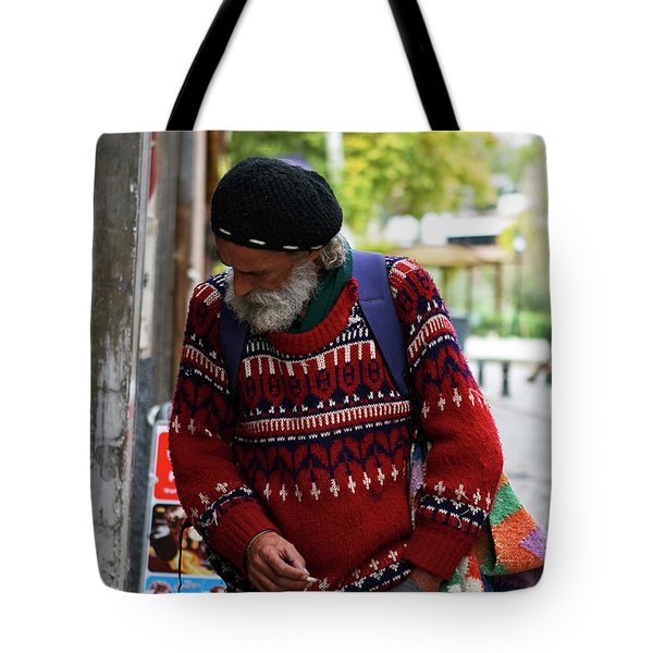 Man in a Red Sweater Tote Bag by Lorraine Devon Wilke