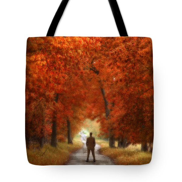 Man In Suit On Rural Road In Autumn Tote Bag by Jill Battaglia
