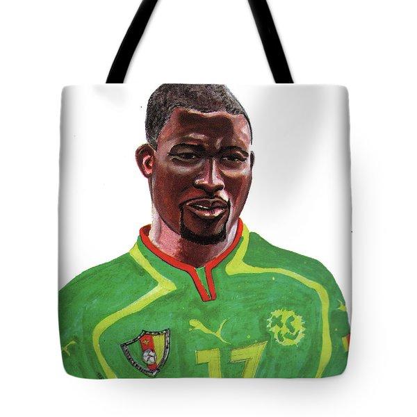 Marc Vivien Foe Tote Bag by Emmanuel Baliyanga