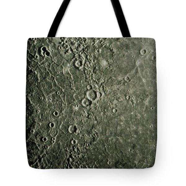 Mariner 10 Mosaic Of Mercury Showing Tote Bag by NASA / Science Source