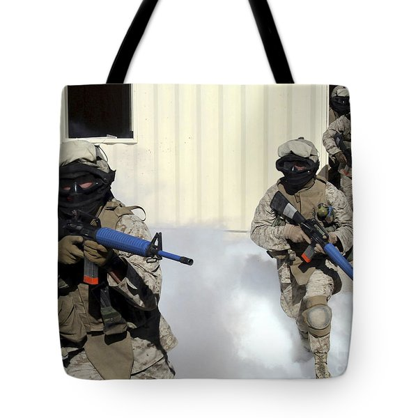 Marines Cross A Danger Area After Using Tote Bag by Stocktrek Images