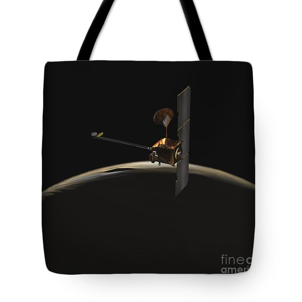 Mars Odyssey Spacecraft Over Martian Tote Bag by Stocktrek Images