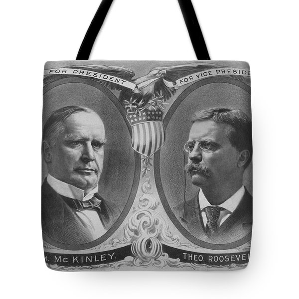 McKinley and Roosevelt Election Poster Tote Bag by War Is Hell Store