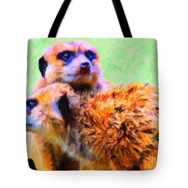 Meerkats . 7d4176 Tote Bag by Wingsdomain Art and Photography