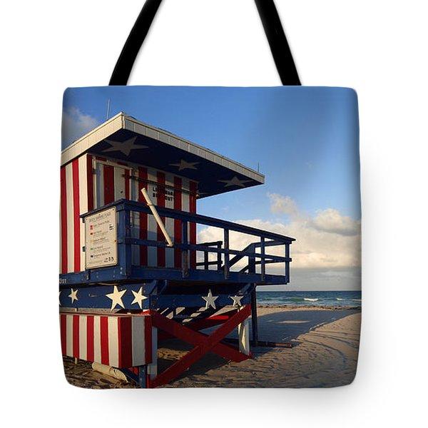 Miami Beach Watchtower Tote Bag by Melanie Viola