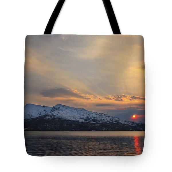 Midnight Sun Over Tjeldsundet Strait Tote Bag by Arild Heitmann