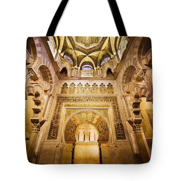 Mihrab And Ceiling Of Mezquita In Cordoba Tote Bag by Artur Bogacki