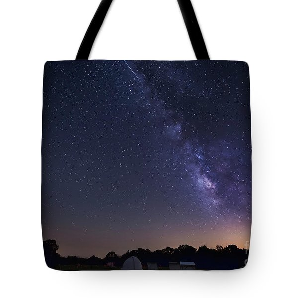 Milky Way And Perseid Meteor Shower Tote Bag by John Davis