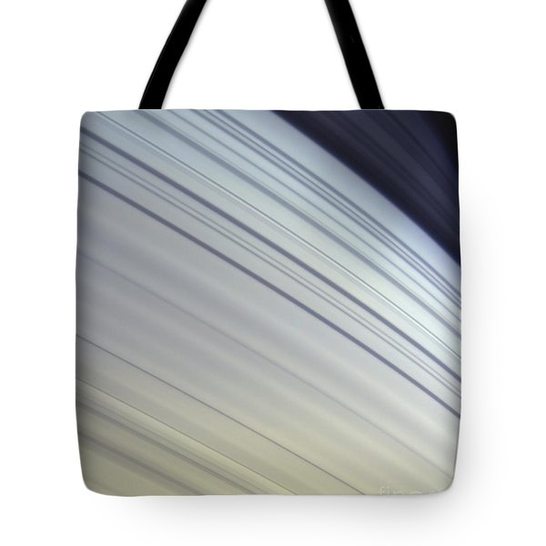 Mimas Drifts Along In Its Orbit Tote Bag by Stocktrek Images