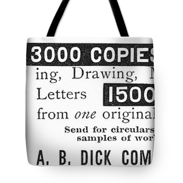 Mimeograph Ad, 1890 Tote Bag by Granger