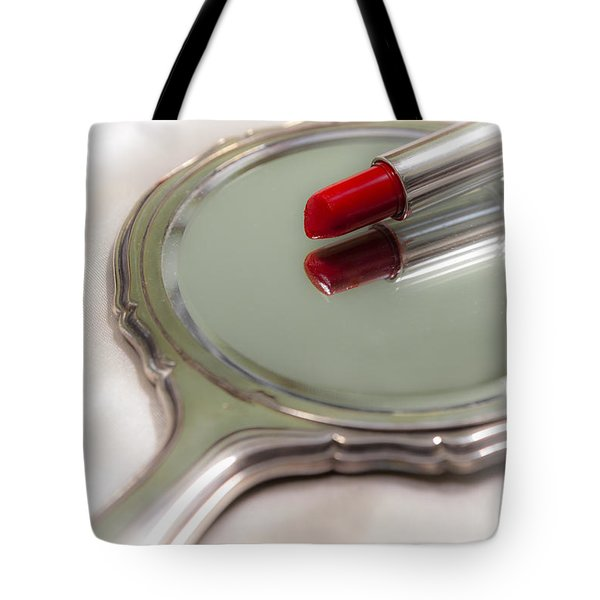 Mirror And Lipstick Tote Bag by Joana Kruse