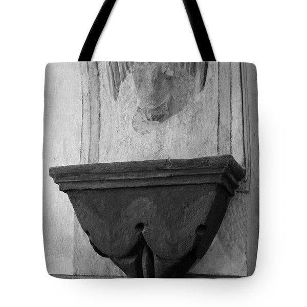 Mission San Xavier Del Bac - Angel Gargoyle In Black And White Tote Bag by Suzanne Gaff