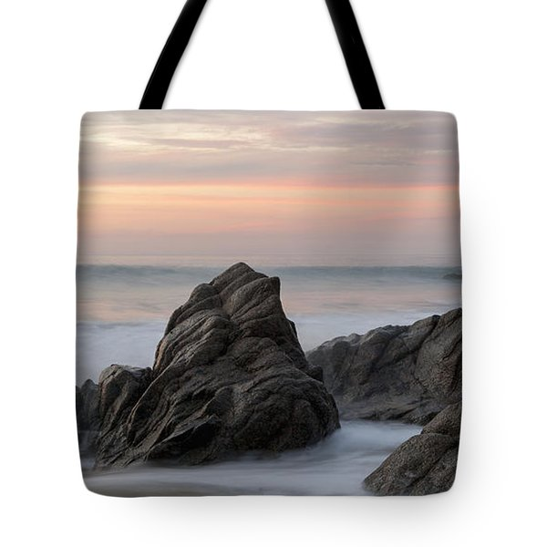Mist Surrounding Rocks In The Ocean Tote Bag by Keith Levit