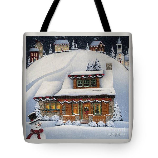 Mistletoe Cottage Tote Bag by Catherine Holman