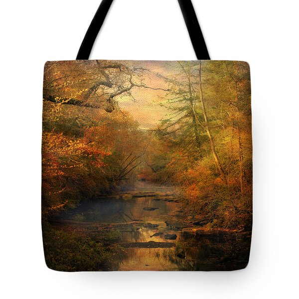 Misty Autumn Morning Tote Bag by Jai Johnson