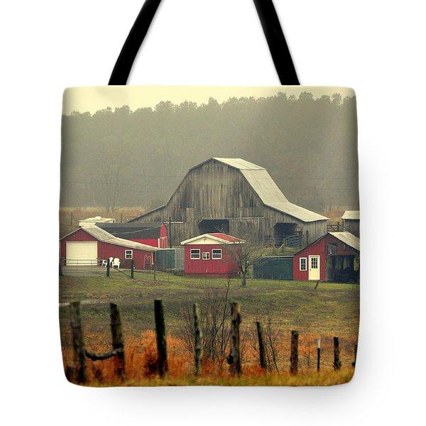 Misty Barn Tote Bag by Marty Koch
