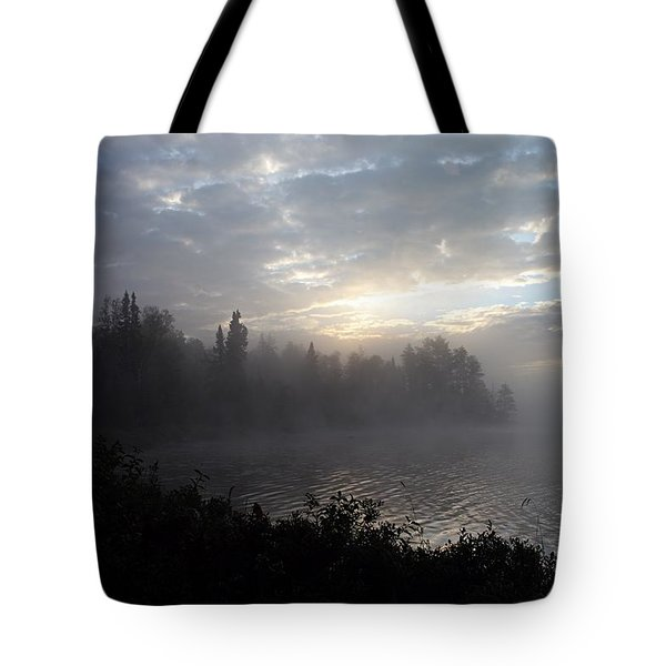 Misty Dawn On Boot Lake Tote Bag by Larry Ricker