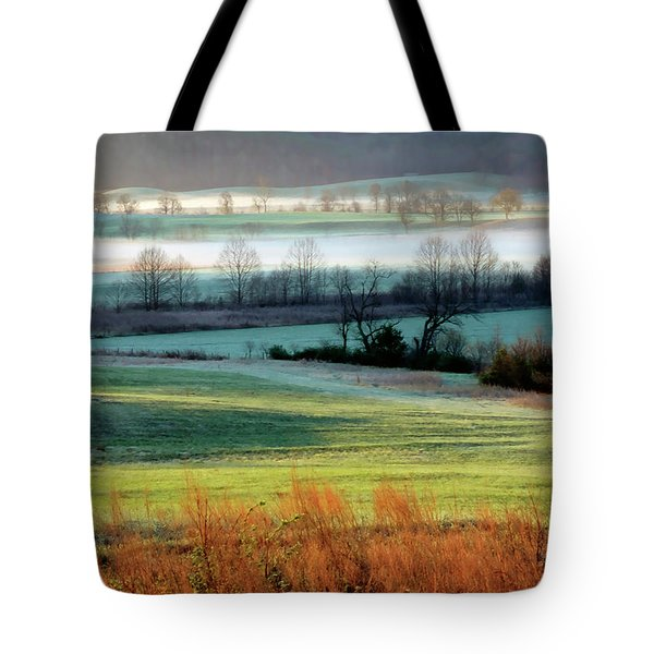 Misty Morning At Cades Cove Tote Bag by Dave Mills