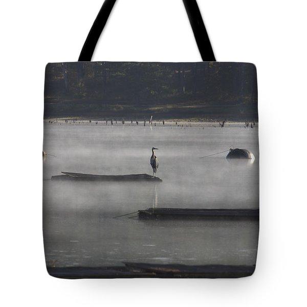 Misty Morning At Lake Wilhelmina Tote Bag by Douglas Barnard