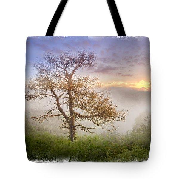 Misty Mountain Tote Bag by Debra and Dave Vanderlaan