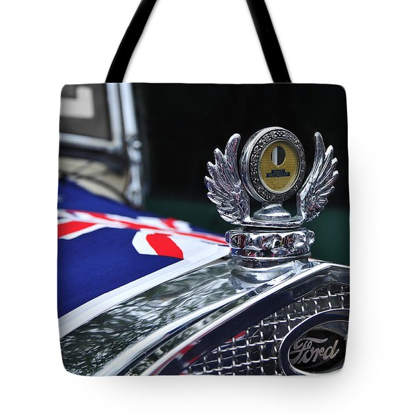 Model A Ford - Hood Ornament And Badge Tote Bag by Kaye Menner