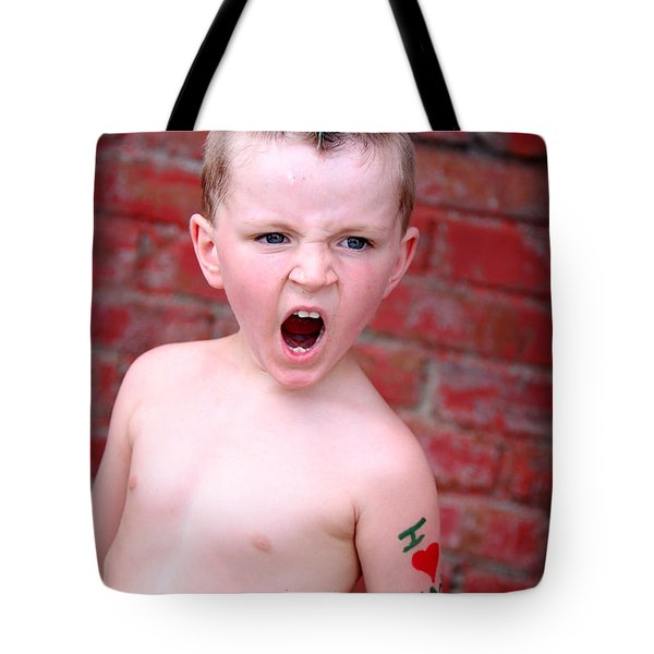 Mohawk Boy Tote Bag by Kelly Hazel