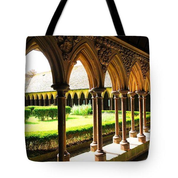 Mont Saint Michel Cloister Tote Bag by Elena Elisseeva