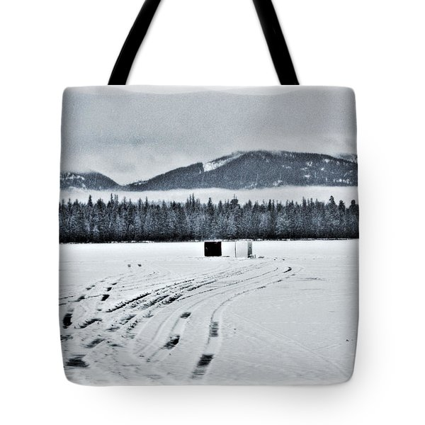 Montana Ice Fishing Tote Bag by Janie Johnson