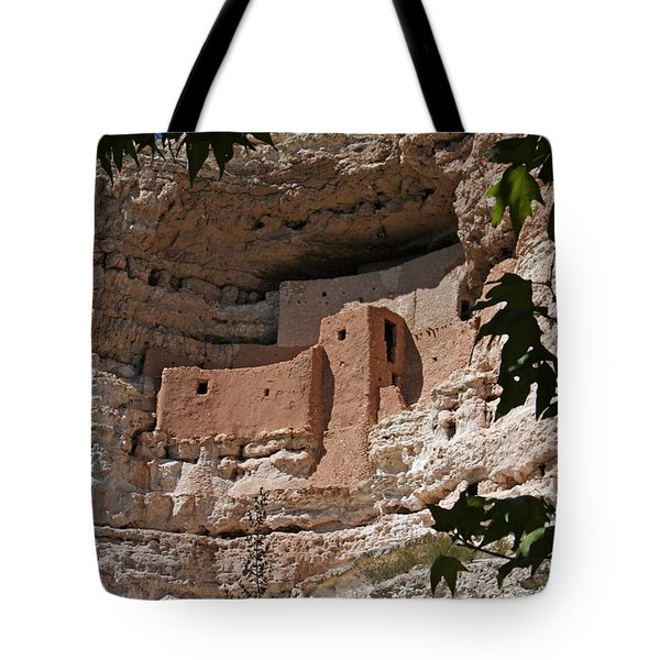 Montezuma Castle Cliff Dwellings In The Verde Valley Of Arizona Tote Bag by Elizabeth Rose