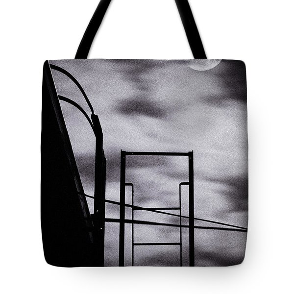 Moon Over Brooklyn Rooftop Tote Bag by Gary Heller