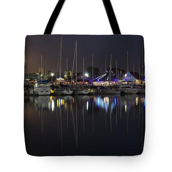 Moon Over The Marina Tote Bag by Heidi Smith
