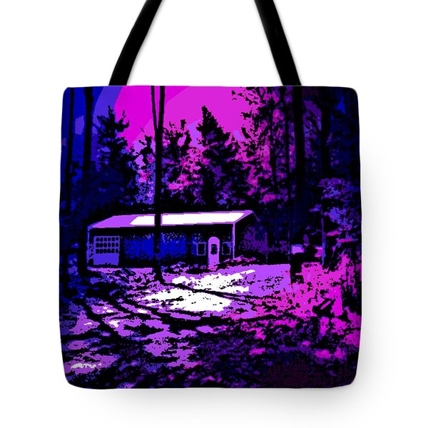 Moonlit Winter Night In The Poconos Tote Bag by George Pedro
