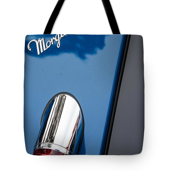 Morgan Plus 8 Taillight And Name Badge Tote Bag by Roger Mullenhour