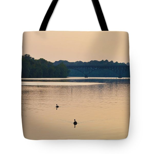 Morning Along the Schuylkill River Tote Bag by Bill Cannon