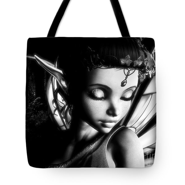 Morning Fairy Bw Tote Bag by Alexander Butler