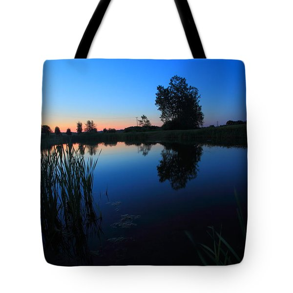 Morning Pond In Blue Tote Bag by Jiayin Ma