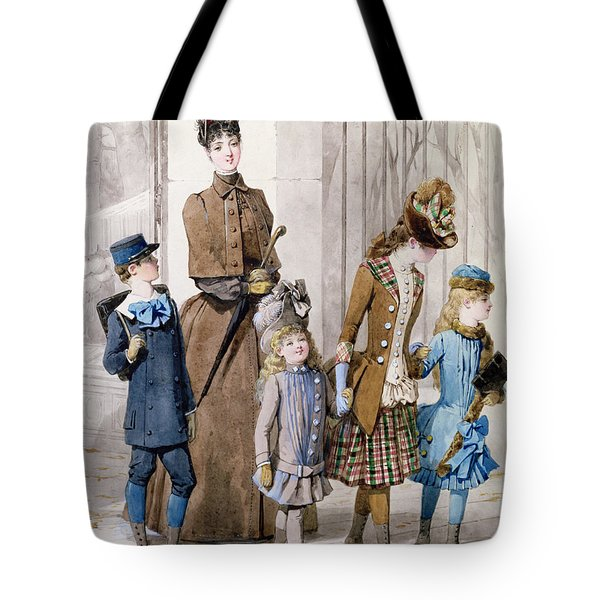 Mother And Children In Walking Dress  Tote Bag by Jules David