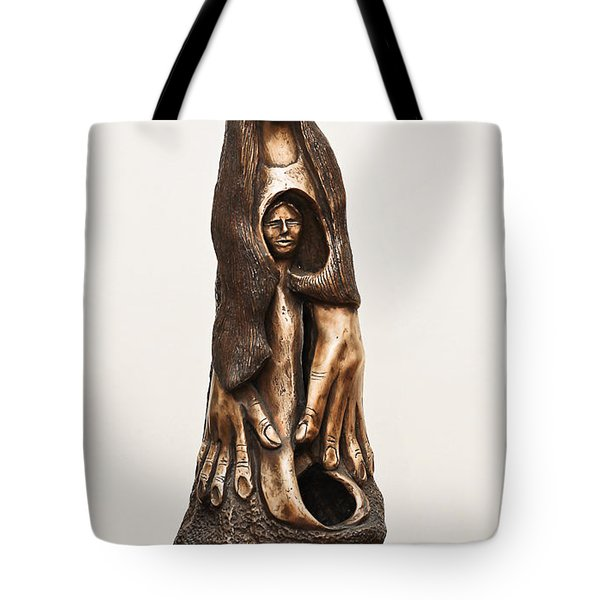 Mother Mourning Her Son Who Died In A War Large Hands Womb Inside Long Hair Sad Face Tote Bag by Rachel Hershkovitz