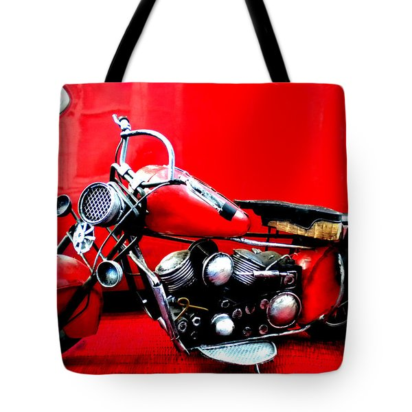 Motor Cycle Getting A Wash And Kick Tote Bag by Colette V Hera  Guggenheim