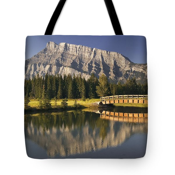 Mount Rundle And Cascade Ponds, Banff Tote Bag by Darwin Wiggett