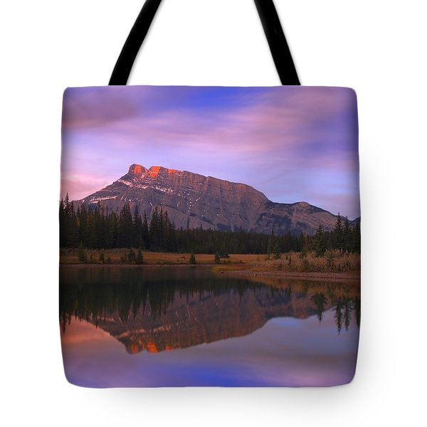 Mount Rundle And The Cascade Ponds In Tote Bag by Carson Ganci